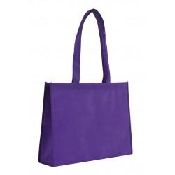 Sac shopping uni à soufflet non-tissé violet