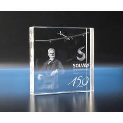 Bloc carré verre optique gravé laser