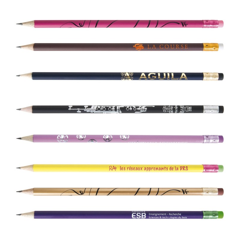 Crayon De Papier éco Rond Vernis Pantone Gomme