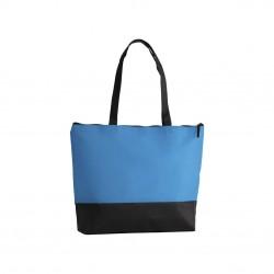 Sac shopping zippé non-tissé turquoise / noir
