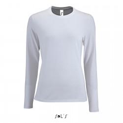 Tee-shirt manches longues femme semi-peigné 190 g blanc