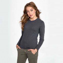 Tee-shirt manches longues femme semi-peigné 190 g couleur