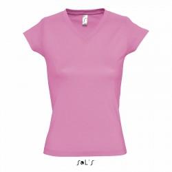 Tee-shirt col v femme semi-peigné 150 g couleur