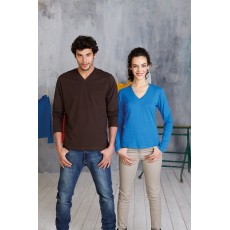 Tee-shirt col V femme ou homme manches longues, 180 g